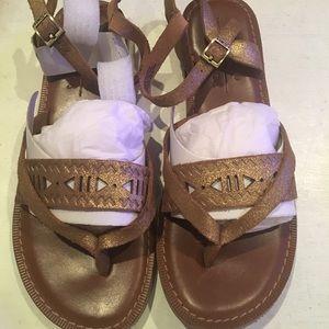 TOM's Lexie Gold metallic suede sandals